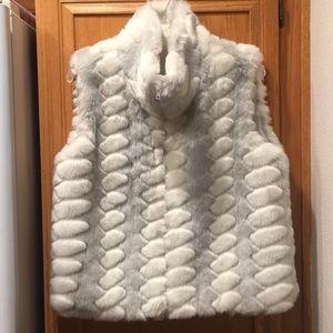 Magnificent Two-tone Gray & White Faux Fur Vest